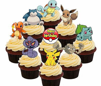 Pokemon Birthday Party - 36 Edible Cupcake Toppers, Fairy Cake Decorations Go  ()