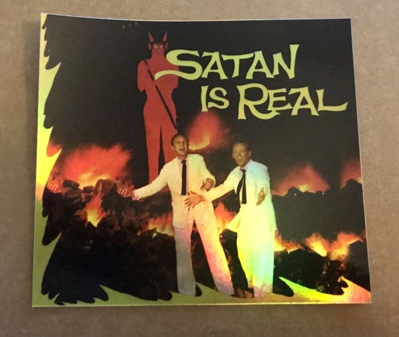 """LOUVIN BROTHERS 3.5x4"""" HOLO-DECAL/STICKER Vintage/Retro Design! SATAN IS REAL"""