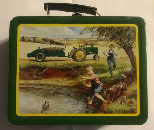 "VINTAGE JOHN DEERE METAL LUNCH BOX ""TURTLE TROUBLE"" BOY FISHING WITH DAD"