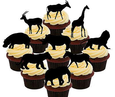 African / Safari Animals - 36 Edible Cupcake Toppers, Standup Cake Decorations  (Safari Cupcake Toppers)