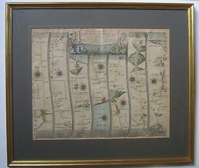 Lincoln-Flamborough: antique road map by John Ogilby, c1675