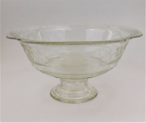 Federal Madrid Footed Serving Bowl Compote Clear Depression Glass