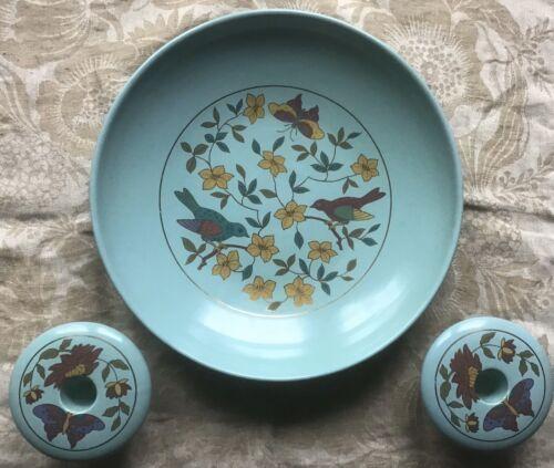 Schramberg Ceramic Pottery Vintage Blue Bowl And Candleholders Set West Germany - $28.99