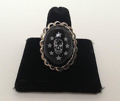 Black Skull n Stars adjustable Ring by Lucky Loo Loo. New  - Plastic Skull Rings