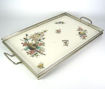 Jugendstil Tabeltt aus Metall & Steingut ca. 1910 Art Nouveau Serving Tray RARE