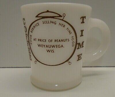 Vintage Hazel Atlas White COFFEE TIME ADVERTISING Milk Glass Handle Mug