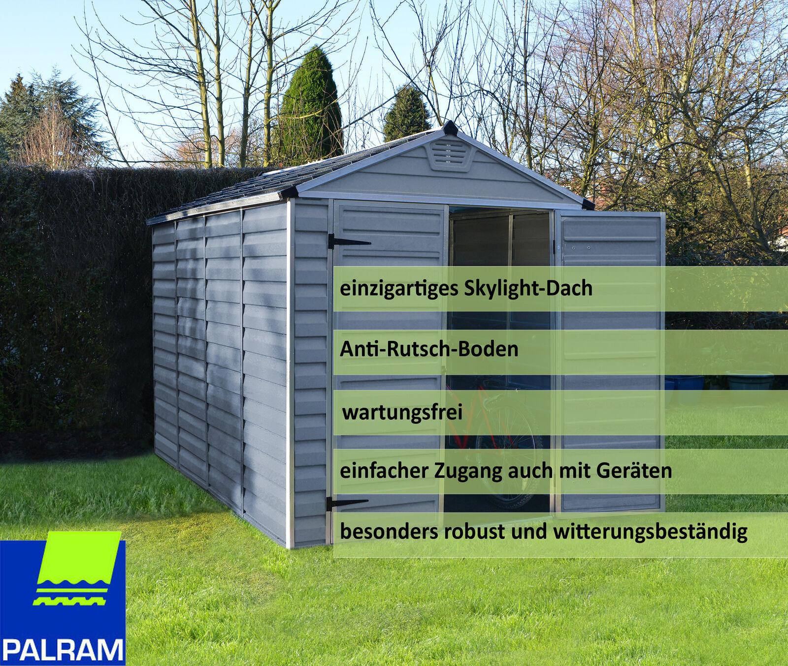 Palram Geräteschuppen Gartenhaus Lagerhaus Schuppen Skylight 6X10 Alu stahlgrau