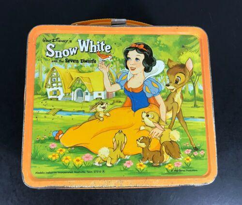 Disney SNOW WHITE + Seven Dwarfs VINTAGE Metal LUNCH BOX Original *NO THERMOS*