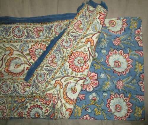 "ANTIQUE 70"" x 103"" (100 yrs old PLUS!) COTTON  FLORAL TABLE CLOTH"