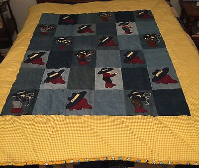Twin Size Quilt With Appliqued Cowboys on Denim Blocks Handm