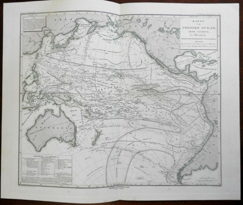 Currents of the Pacific Ocean Australia Polynesia New Zealand 1849 Berghaus map