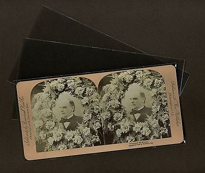 100 Stereoview Photo Sleeve Pack/Lot Clear Poly Archival Safe