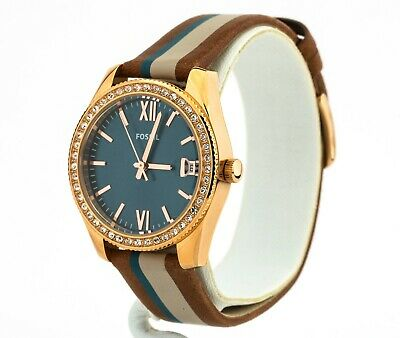 Women's Fossil Watch, Scarlette Mini Striped Brown Leather Watch ES4593, New
