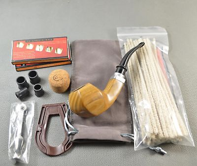 Nice Green sandalwood Wood Tobacco Smoking Pipe With Fittings Cleaners Set G669