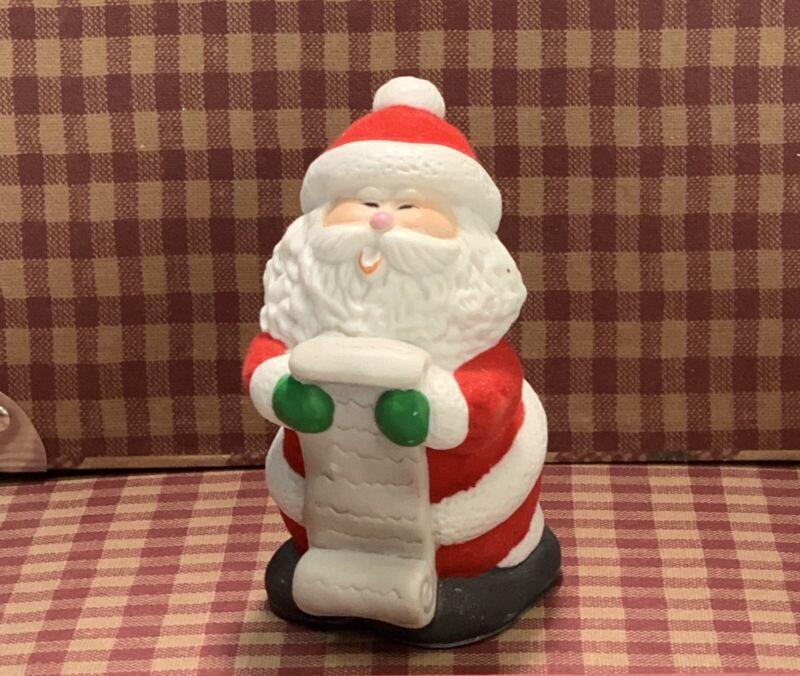 Vintage Jacso Winter Wonderland Bells Santa Claus Hand Painted Porcelain Velvet