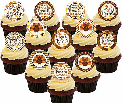 Happy Thanksgiving Edible Cupcake Toppers, 24 Precut Fairy Cake Bun Decorations