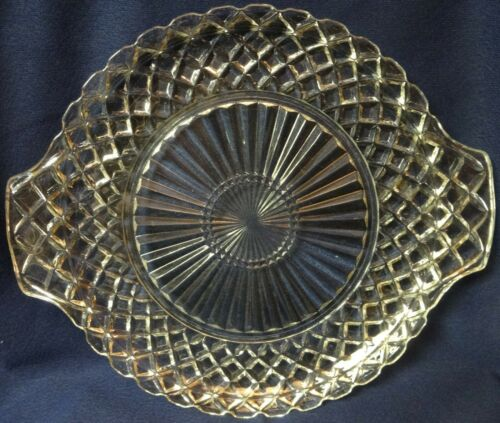 "Waterford Crystal Cake Plate Handled 10.25"" Hocking Glass Company"
