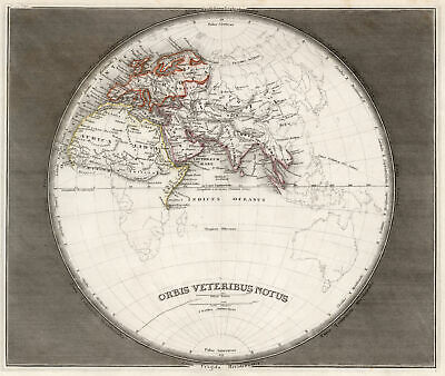 Eastern Hemisphere Original Steel Engraving Map Bibl. Inst. 1850