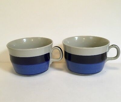Rorstrand Mira Mare Blue Bands Sweden 1972-1977  2- Coffee Tea Cups Mugs