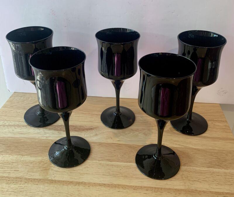"""5 VINTAGE BLACK AMETHYST WINE WATER GOBLETS GLASSES 7 1/4"""" High"""