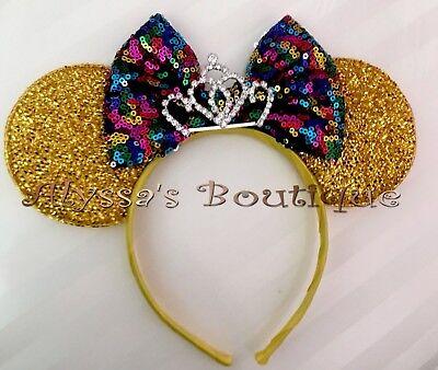NEW Minnie Mouse Ears Headband Gold Sequin Rainbow Multicolor Bow Tiara Birthday Gold Sequin Tiara