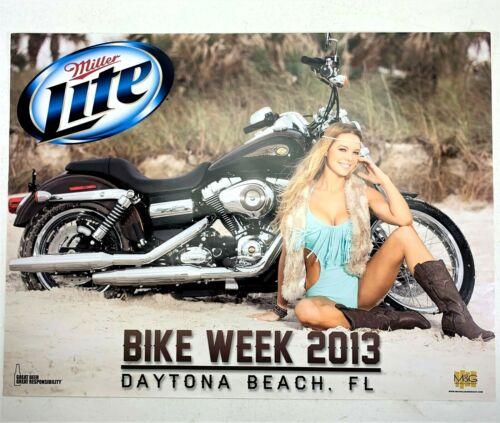 Vintage Sexy Girl Harley Miller Lite Beer Poster Bike Week Daytona Beach FL 2013