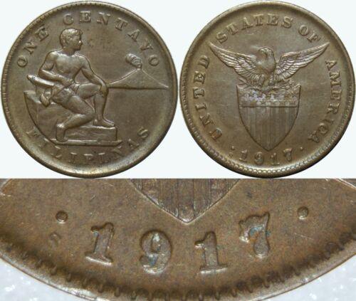1917/18-S US-Philippines 1 Centavo ~ RPD ~ AU Details ~ Allen#2.15c ~ MX193