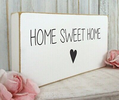 Home Sweet Home Sign Plaque House Warming Gift Vintage Shabby & Chic Wooden