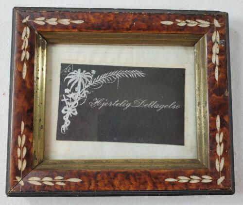 "Lovely Little Eastlake Picture Frame fits 4 x 5"" Tortoise Design & Gilt Antique"