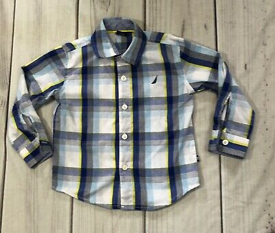 Nautica Boys 2T button down blue plaid long sleeved shirt