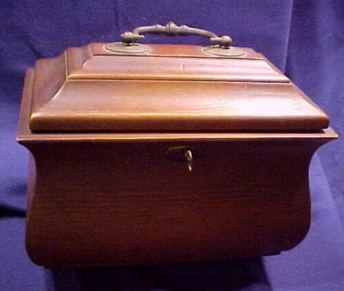 ESTATE HANDSOME VINTAGE ANTIQUE STYLE WOODEN TEA CADDY BOX W/ KEY
