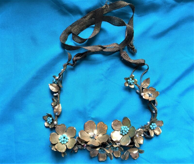Antique 19th C Tiara HAIR Band Decoration - Gold Tin Beads And Gold Wired Ribbon