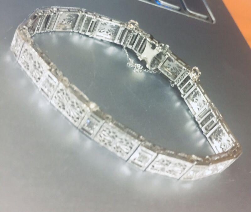"Art Deco 14K White Gold Diamond Filigree Bracelet 7 3/4"" Long, 16grams, 0.55TCW"