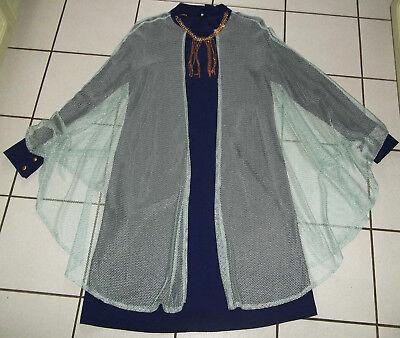 KLEID mit NETZÜBERWURF Gr. 42 44 BLAU Mint GLITZER Kostüm Festkleid - Kostüm Mit Blauen Kleid