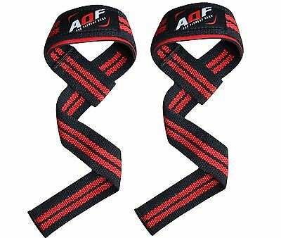 AQF Padded Weight Lifting Gym Straps Hand Bar Wrist Support Gloves Wrap Grips R