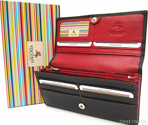 Ladies Purse Wallet Real Leather Black/Red New in Gift Box Quality Visconti CD21