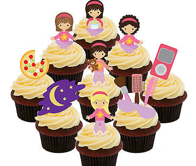 Slumber Party / Sleepover Edible Cup Cake Toppers - 36 Fairy Decorations Girls](Slumber Party Decorations)