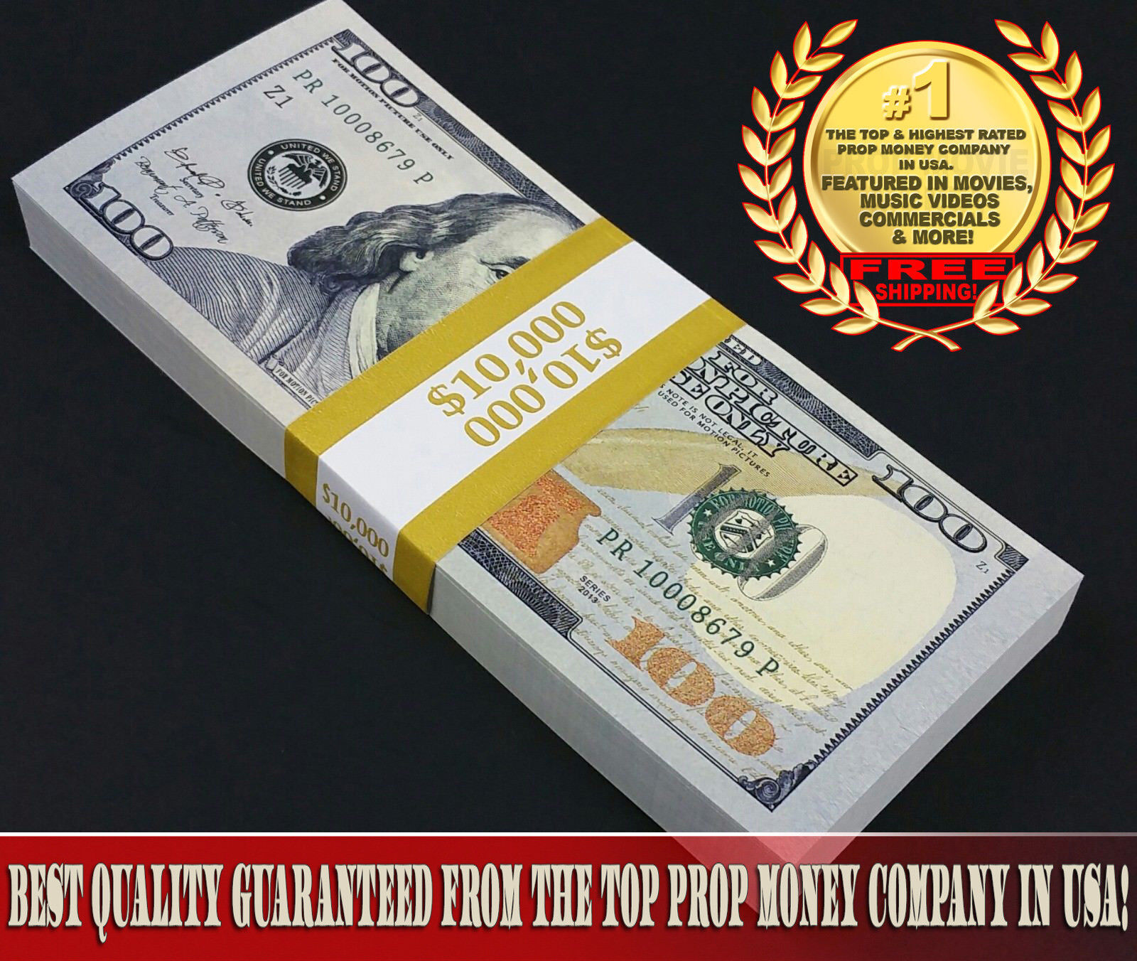 Купить $10,000 - Top Quality New Full Stack For Film, Movie, TV, Play Fake Prop Money