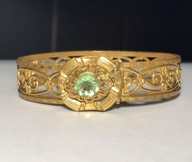 "Art Deco Antique Green Faceted Glass Rhinestone Gold Tone Bangle Bracelet~6.75"""