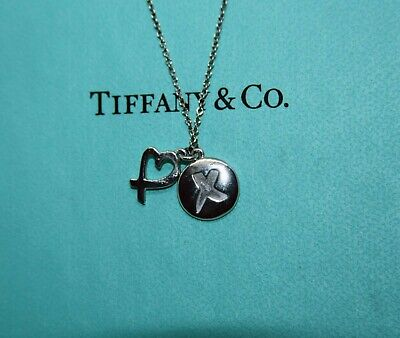 TIFFANY & CO Sterling Silver Paloma Picasso Kiss X Loving Heart Pendant Necklace