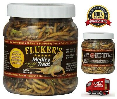 Fluker Labs Bearded Dragon Medley Treat Food Freeze-Dried Mealworms Grasshoppers