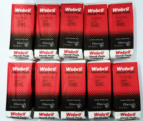 Webril Handi-pads 4x4 wipes Case of 10 Packages of 100 Pads (1000 Pads total)