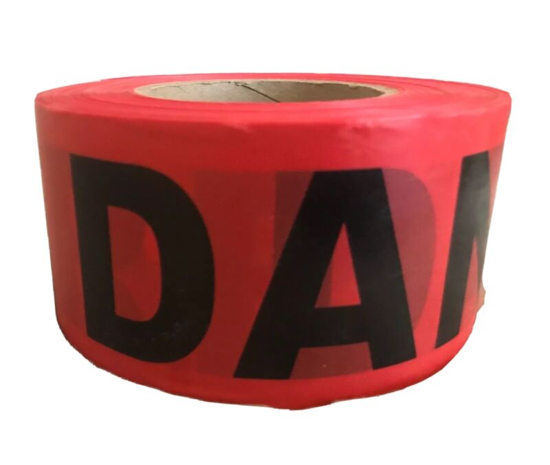 NEW Red High Visibility Danger Barricade Safety Flagging Tape 3in x 1000ft Roll