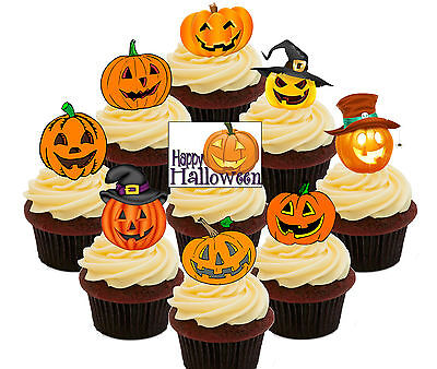 Pumpkin Party! Halloween Edible Cup Cake Toppers, Fairy Cake Decorations 36 pack - Halloween Fairy Cake Decorations