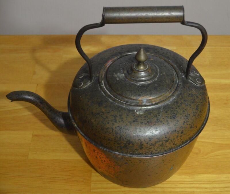 Vintage French Berrada Freier Brass Copper Tea Pot Kettle & Serpent Style Spout