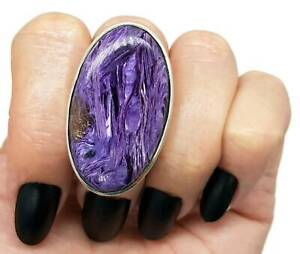 Charoite Ring, Size 8, 925 Sterling Silver, large oval, Dream Gemstone