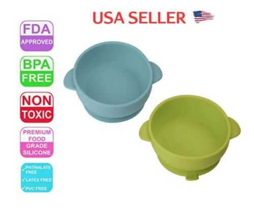 2 Baby Bowl Plate Tray Set Silicone BPA Free FDA Approved Non Toxic