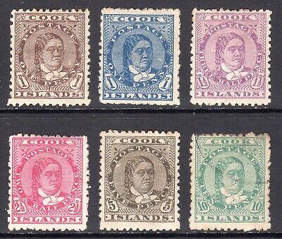 COOK ISLANDS 1893-94 Queen Makea Takau p12x11½ set M, U, SG 5-10 cat £220
