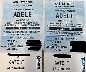 2 X hard copy VIP Golden Circle Adele tickets North Narrabeen Pittwater Area Preview