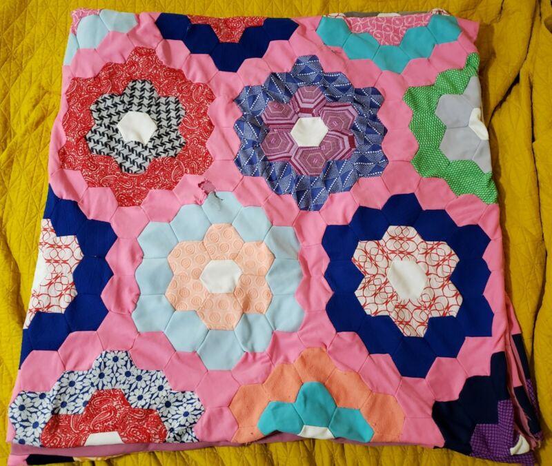 "Vintage Handmade Grandmothers Flower Garden Quilt  74"" x 74"""